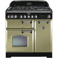 Rangemaster Classic Deluxe 90cm Dual Fuel Range Cooker - Olive Green with Brass Trim