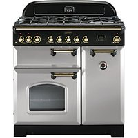 Rangemaster Classic Deluxe 90cm Dual Fuel Range Cooker - Royal Pearl with Brass Trim