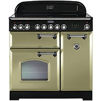 Rangemaster Classic Deluxe 90cm Induction Range Cooker - Olive Green with Brass Trim