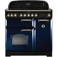 Rangemaster Classic Deluxe 90cm Induction Range Cooker - Regal Blue with Brass Trim