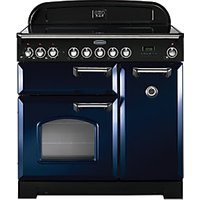 Rangemaster Classic Deluxe 90cm Induction Range Cooker - Regal Blue with Chrome Trim