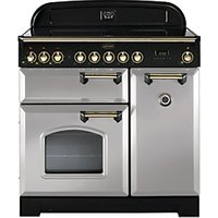 Rangemaster Classic Deluxe 90cm Induction Range Cooker - Royal Pearl with Brass Trim