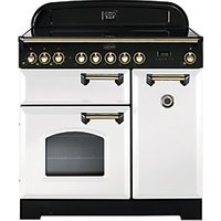Rangemaster Classic Deluxe 90cm Induction Range Cooker - White with Brass Trim