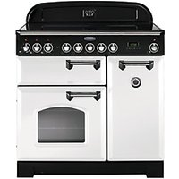 Rangemaster Classic Deluxe 90cm Induction Range Cooker - White with Chrome Trim