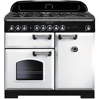 Rangemaster Classic Deluxe 100cm Dual Fuel Range Cooker - White with Brass Trim