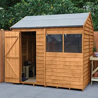 Forest Garden 8 x 6 ft Reverse Apex Overlap Dip Treated Shed with Assembly