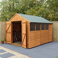 Forest Garden 10 x 8 ft Apex Shiplap Dip Treated Double Door Shed with Assembly