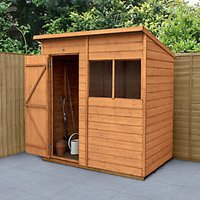 Forest Garden 6 x 4 ft Pent Shiplap Dip Treated Shed with Assembly