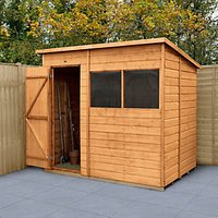 Forest Garden 7 x 5 ft Timber Shiplap Pent Shed with Assembly