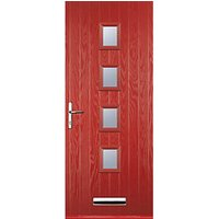 Euramax 4 Square Red Right Hand Composite Door 840mm x 2100mm