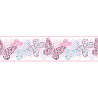 Graham & Brown Pink Butterfly Print Border - 10m