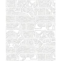 Graham & Brown Star Wars Stormtrooper White Brick Decorative Wallpaper - 10m