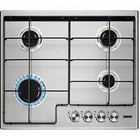 Zanussi 60cm 4 Burner Gas Hob with Enamel Pan Supports Stainless Steel ZGH65414XX