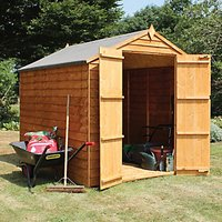 Mercia 8 x 6 ft Double Door Windowless Timber Overlap Apex Shed with Assembly