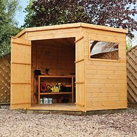 Mercia Timber Shiplap Pent Corner Shed - 8 x 8 ft - with Assembly
