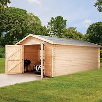 Mercia 14 x 19 ft Large Wooden Log Garage with Assembly