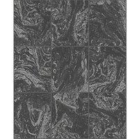 Graham & Brown Contour Glitter Marble Tile Black Decorative Wallpaper - 10m