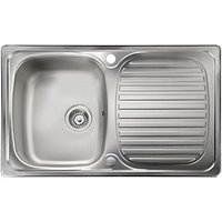 Leisure Linear Compact 1 Bowl Reversible Inset Kitchen Sink - Stainless Steel - 800 x 508