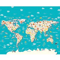 Animals of the World Map Large Wall Mural 3.5m (Wide) x 2.8m (High)