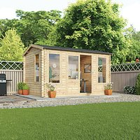 Mercia 4m x 3m 34mm Log Thickness Single Glazed Home Office with Assembly