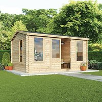 Mercia 4.5m x 3.5m 34mm Log Thickness Single Glazed Home Office with Assembly
