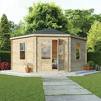 Mercia 4m x 4m 28mm Log Thickness Corner Log Cabin with Assembly