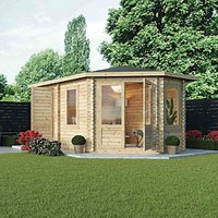 Mercia 5m x 3m 28mm Log Thickness Corner Right Sided Log Cabin with Assembly