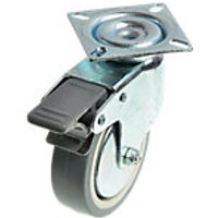 Wickes 75mm Heavy Duty Castor Wheel Swivel Plate with Brakes Pack 2