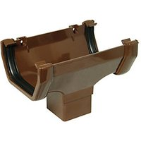 FloPlast ROS1BR Half Square Line Gutter Running Outlet - Brown
