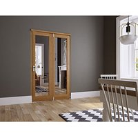 Wickes Newbury Fully Glazed Oak 1 Lite Internal Bi-Fold 2 Door Set - 2007mm x 1490mm