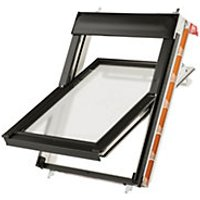 Keylite White Polyurethane Centre Pivot Roof Window with Frosted Glazing - 660 x 1180mm