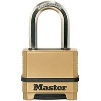 Master Lock Excell M175EURDLF 4 Digit Resettable Long Shackle Brass Plated Padlock - 50mm