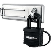 Master Lock 7804704EURD Steel Hasp & Weather Tough Laminated Steel Padlock Set 110mm