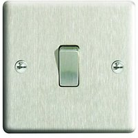 Wickes 10A Light Switch 1 Gang 2 Way Brushed Steel Raised Plate