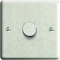 'Wickes Dimmer Switch 1 Gang 2 Way 400w Brushed Steel Raised Plate