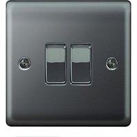 Wickes 10A Light Switch 2 Gang 2 Way Black Nickel Raised Plate