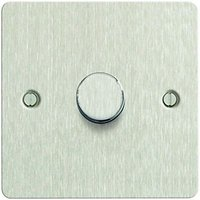 'Wickes Dimmer Switch 1 Gang 2 Way 400w Brushed Steel Ultra Flat Plate