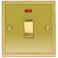Wickes 20A Light Switch + LED 1 Gang Polished Georgian Brass