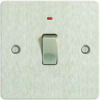 Wickes 20A Light Switch + LED 1 Gang Brushed Steel Ultra Flat Plate