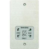 Wickes Dual Voltage Shaver Socket 2 Gang Brushed Ultra Flat Plate
