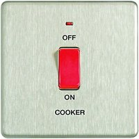 Wickes 45A Cooker Switch 1 Gang Brushed Steel Screwless Flat Plate