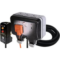 Masterplug 13A Twin Exterior Switched Socket and Plug Kit - Grey