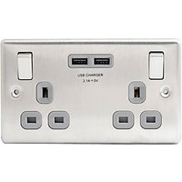 Wickes 13A Twin Switched Socket with 2 x 2.1A USB Ports - Brushed Silver