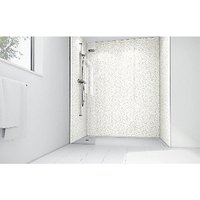 Wickes White Lilly Laminate 900x900mm 2 sided Shower Panel Kit