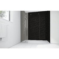 Wickes Patterned Black Laminate 1200x900mm 2 sided Shower Panel Kit