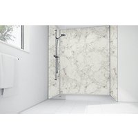 Wickes White Calacatta Laminate 900 x 900mm 3 Sided Shower Panel Kit