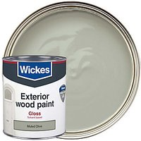 Wickes Exterior Gloss Paint - Muted Olive 750ml