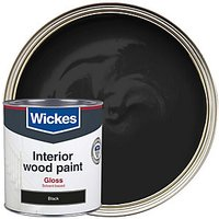 Wickes One Coat Gloss Paint Black 750ml