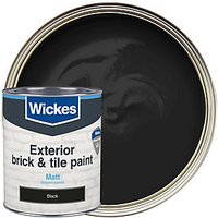 Wickes Exterior Brick & Tile Paint - Matt Black 750ml