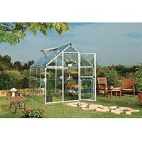 Palram 6 x 8 ft Harmony Silver Aluminium Apex Greenhouse with Clear Polycarbonate Panels